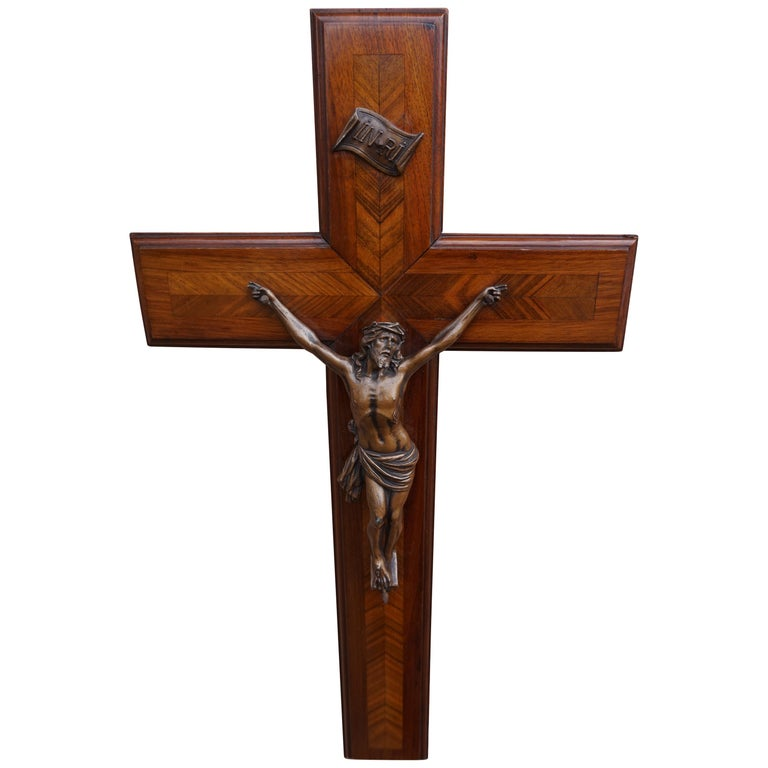 Stunning Mahogany & Kingwood Inlaid Crucifix with a Bronzed Corpus of Christ For Sale