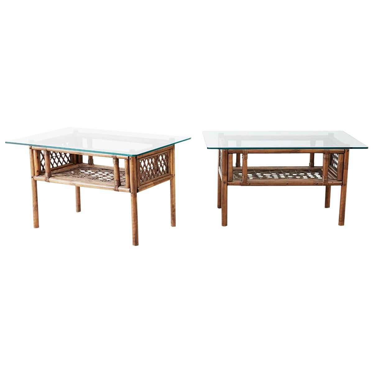 Pair of Brown Jordan Style Bamboo Rattan Side Tables