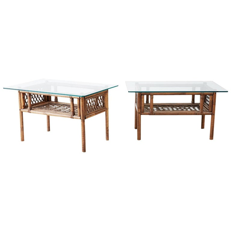 Pair of Brown Jordan Style Bamboo Rattan Side Tables For Sale