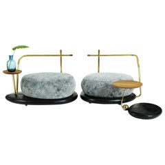 Ensemble of Grey Zen Pouffes and Coffee Table, Misaya