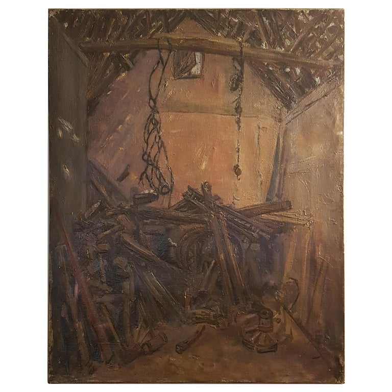 Early 20th Century Oil on Canvas of Cartwrights Workshop For Sale