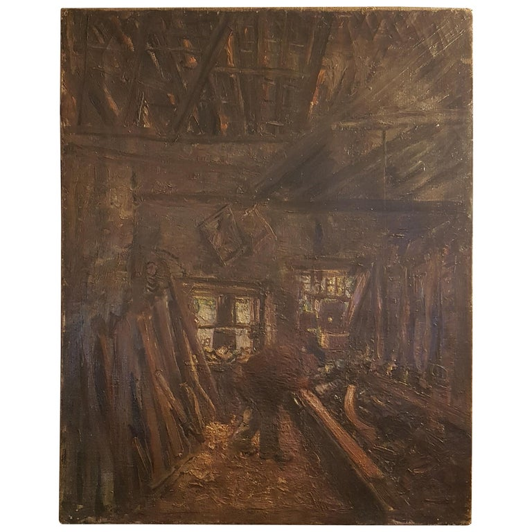 Early 20th Century Oil on Canvas of Carpenters Workshop For Sale