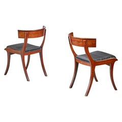 Pair of Danish Klismos Chairs, Mahogany with a Horsehair Seating