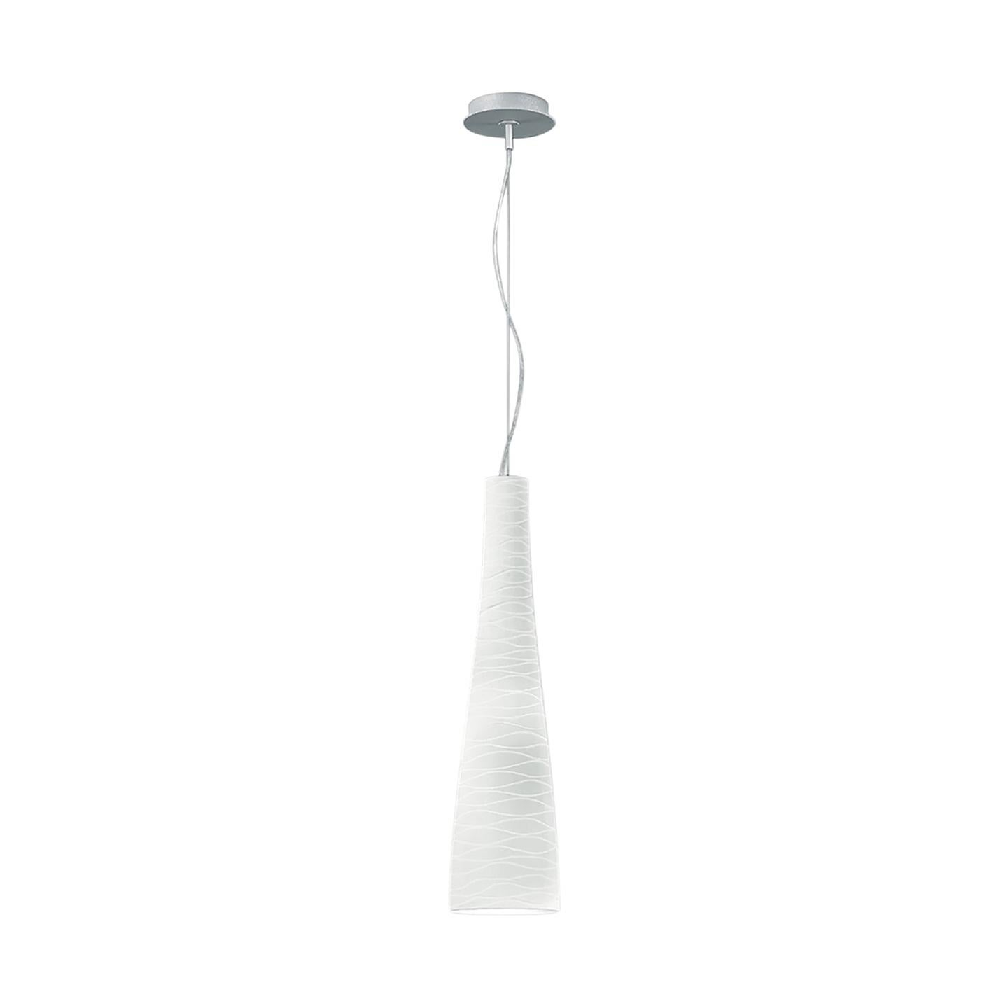 Leucos Class S 60 Pendant Light in Satin Milky White and Gray by Design Lab