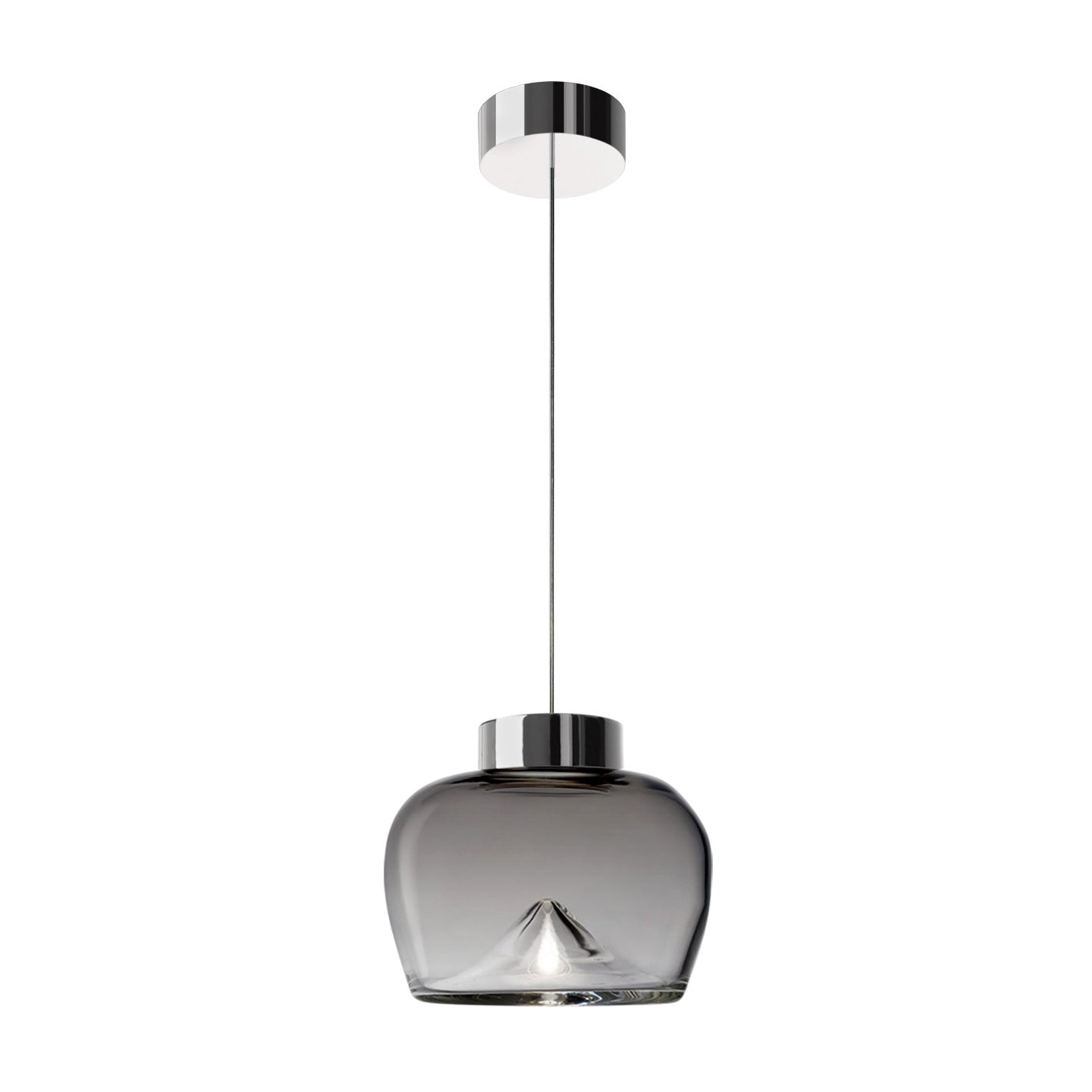 Leucos Aella Bold S LED Pendant Light in Smoke Gray and Chrome by Toso & Massari