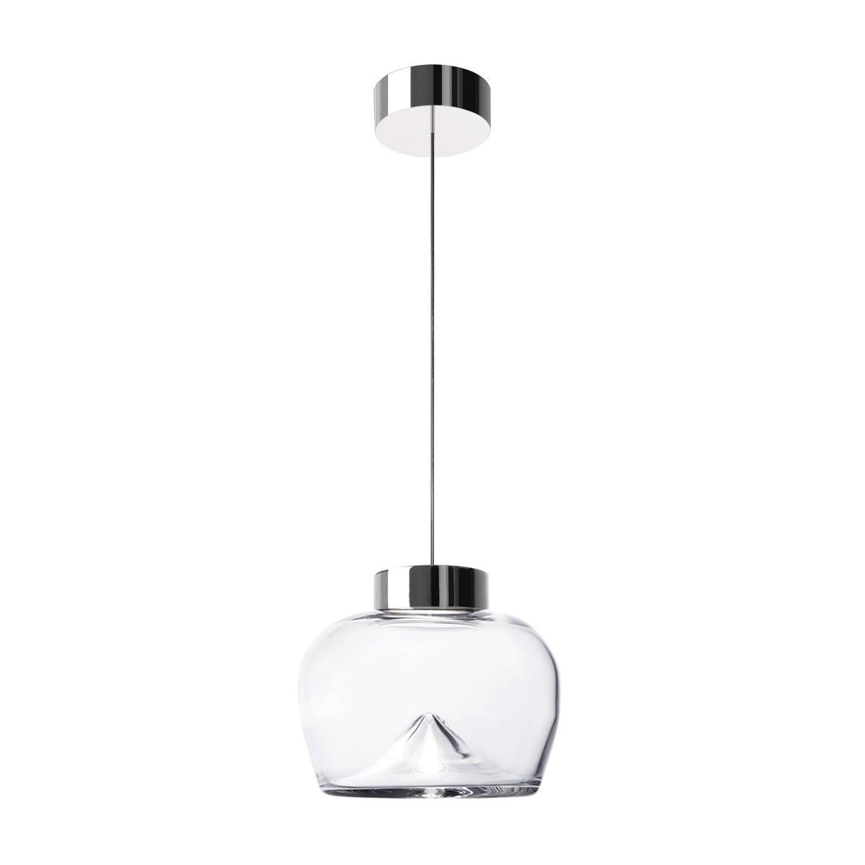 Leucos Aella Bold S LED Pendant Light in Transparent & Chrome by Toso & Massari