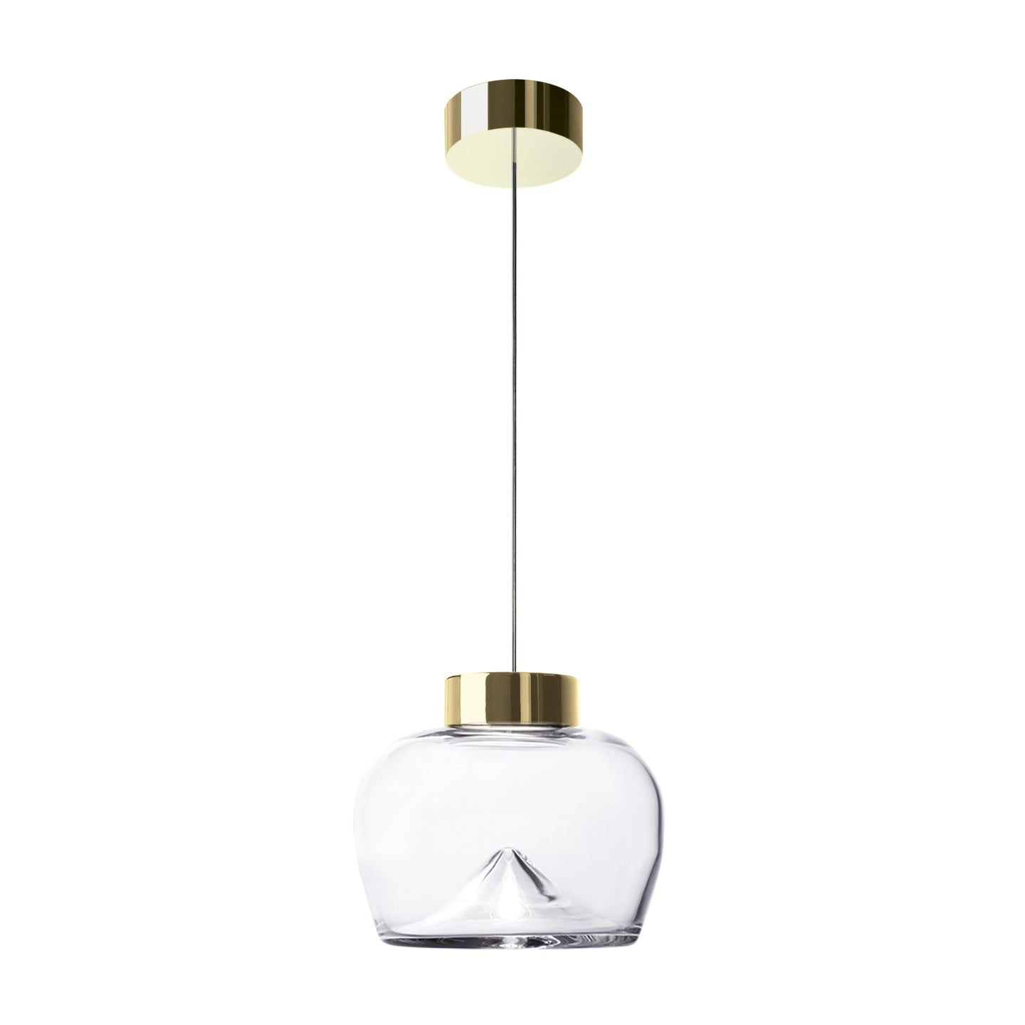 Leucos Aella Bold S LED Pendant Light in Transparent and Gold by Toso & Massari