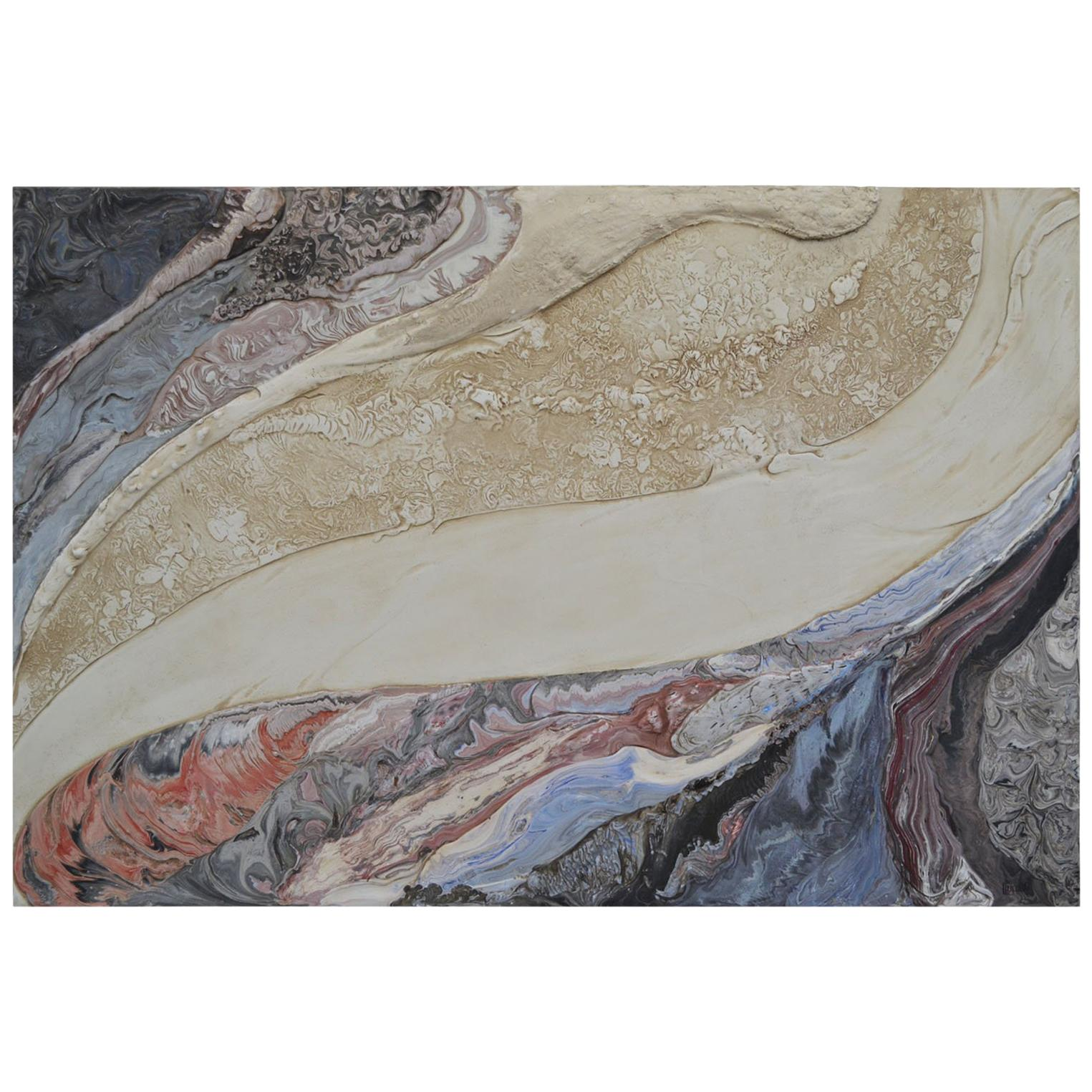 Abstract art Wall Panel  polychrome Scagliola decoration handmade bas-relief