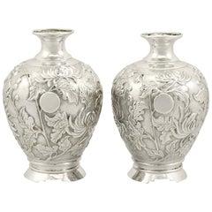 1900s Japanese Silver Bud Vases