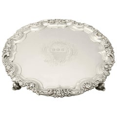 Antique George II English Sterling Silver Salver