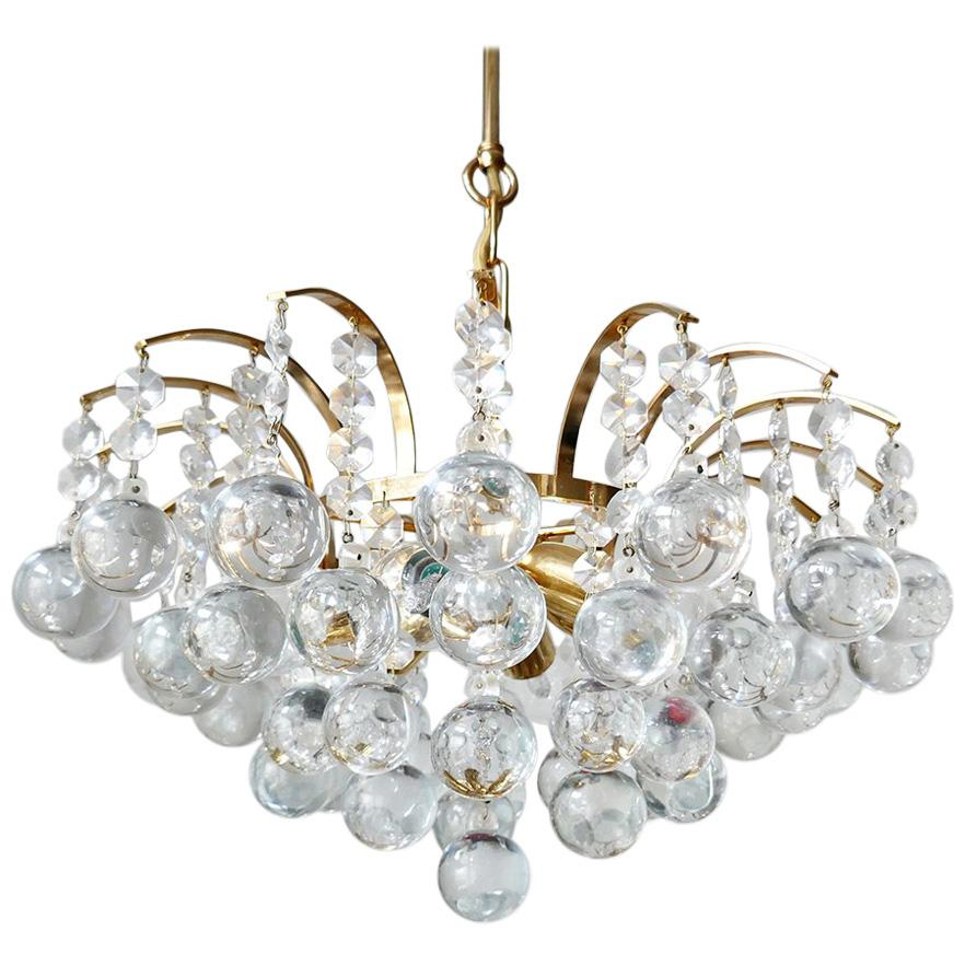 German Vintage Gold-Plated Pendant Light Chandelier, 1960s