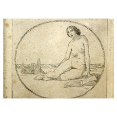 Nude Etching Drawing, by Heinrich Vogeler, circa 1900