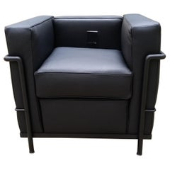 LC2, Le Corbusier, Black Leather Armchair with Black Lacquered Steel Structure