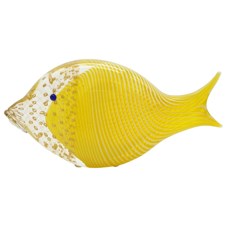 Modern Murano Glass Fish in Yellow & Gold Color with Bubbles by Cenedese, 1990s For Sale