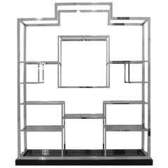 Romeo Rega Modern Steel and Black Lacquered Solid Wood Italian Shelf
