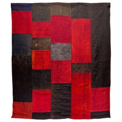 Antique Dizmeck Kilim Turkey Red Black Rug