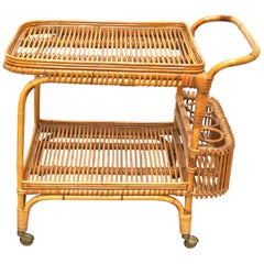 Bonacina Midcentury Italian Serving Trolley in Wicker and Bamboo, 1950s