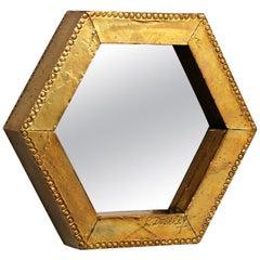 Rodolfo Dubarry's 1970s Gilded Brass Octagonal Mirror