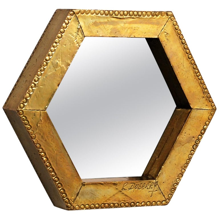 Rodolfo Dubarry's 1970s Gilded Brass Octagonal Mirror For Sale