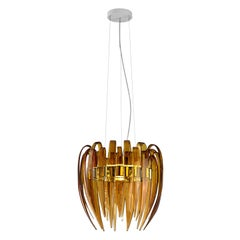 Leucos Dracena S Pendant Light in Amber and Chrome by Diego Chilò