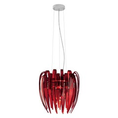 Leucos Dracena S Pendant Light in Red and Chrome by Diego Chilò