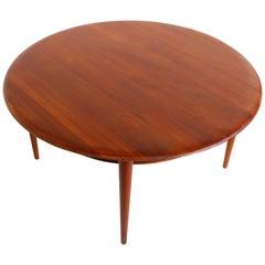 Danish Round Coffee Table Model 515 by Peter Hvidt & Orla Molgaard Nielsen Teak