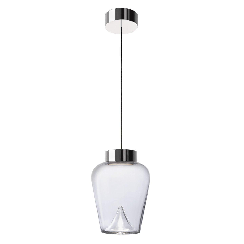 Leucos Aella Thin S LED Pendant Light in Transparent & Chrome by Toso & Massari
