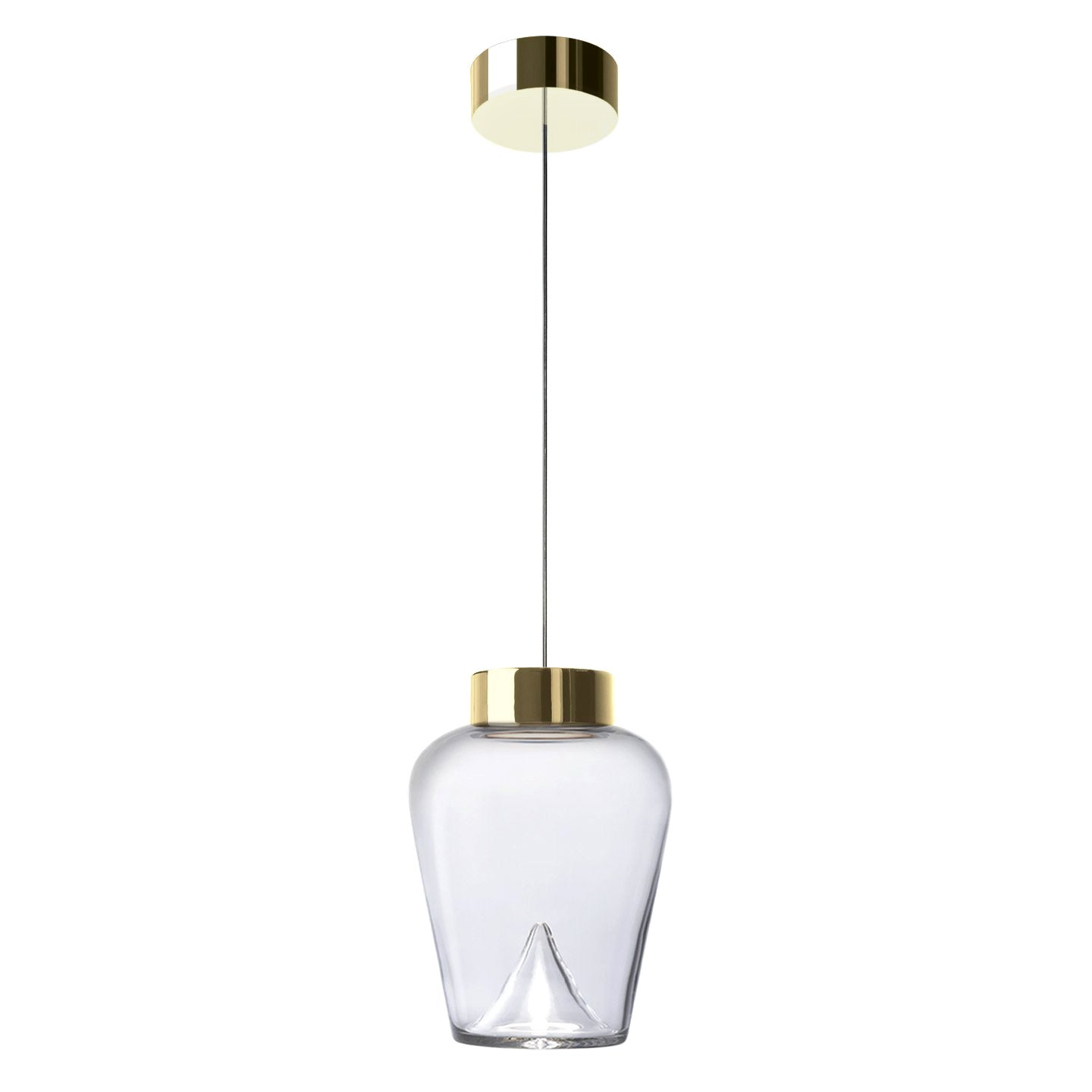 Leucos Aella Thin S Led Pendant Light in Transparent and Gold by Toso & Massari