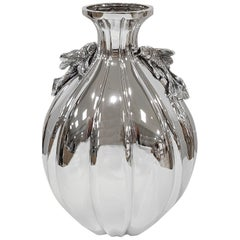 Italian Sterling Silver Handmade Vase with Ceased Strips and Fish
