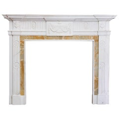 George III Style Statuary and Sienna Marble Neoclassical Fireplace