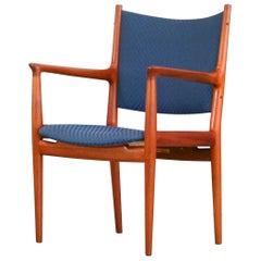 Hans J. Wegner JH 513 Chair by Johannes Hansen Orig. Blue Pattern Fabric Denmark