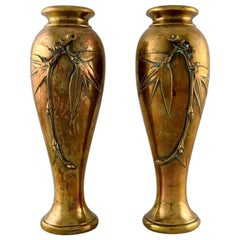 Pair of French Art Nouveau Bronze Vases with Flowers in Relief, circa 1890