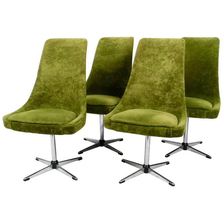 Four 1970s Space Age Rotatable Chairs by Lübke with Original Green Velvet Cover