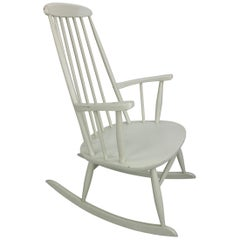 Vintage White Scandinavian Rocking Chair, 1960s