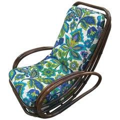 Mid-Century Modern Italian Bamboo Armchair with Floral Fabric Cushion, 1970s