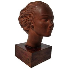 """20th Century Art Deco Terracotta Bust """"The Wind"""" Signed Restored"""