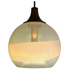 Italian Globe Pendant Lamp with Opalescent Glass and Brass, 1970s
