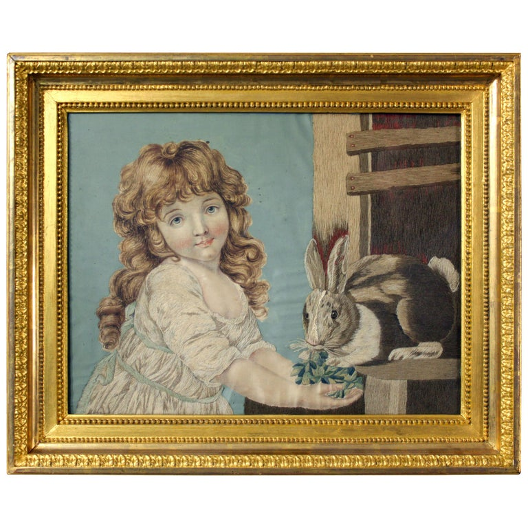 Geoge III Needlework of a Girl Feeding a Rabbit For Sale