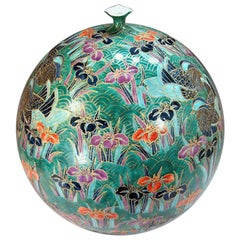 Large Contemporary Green Imari Gilded Porcelain Vase by Japanese Master Artist