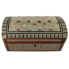 20th Century Syrian Nacre Mother of Pearl and Wood Inlaid Jewelry Box