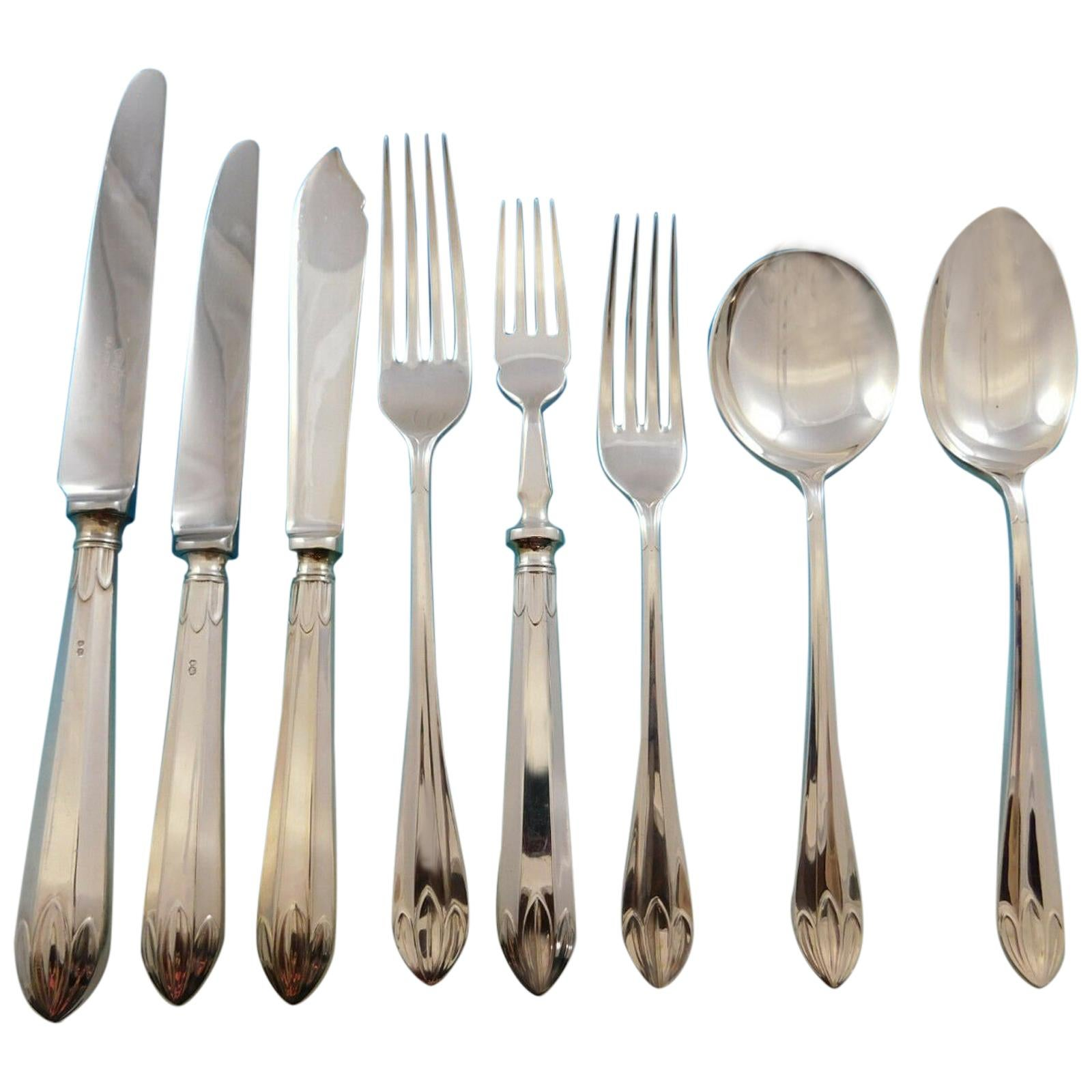 Lotus Orchid Mappin & Webb Sterling Silver Flatware Set Service Dinner 66 Pcs