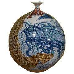 Large Japanese Contemporary Gilded Blue Porcelain Vase by Master Artist