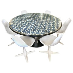 Midcentury Blue and White Spanish Tile Top Table and Six Saarinen Tulip Chairs