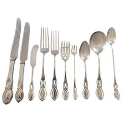 Chippendale Old by Alvin Sterling Silver Flatware Set for 12 Service 208 Pieces