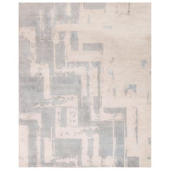 Contemporary Art Deco Geometric Light Blue and White Wool Rug