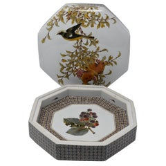 Large Contemporary Kutani Decorative Porcelain Box by Japanese Master Artist