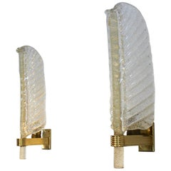 Glamorous pair of Murano 24kt Gold Flaked Glass Leaf Sconces by Barovier & Toso