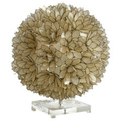 Elegant and Gorgeous Huge 1970s Flower Table Lamp in Spherical Mother of Pearl