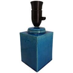 Danish Midcentury Kähler Square Shaped Blue Table Lamp, 1960s