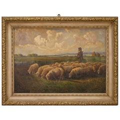 20th Century Oil on Canvas Italian Landscape Painting, 1950